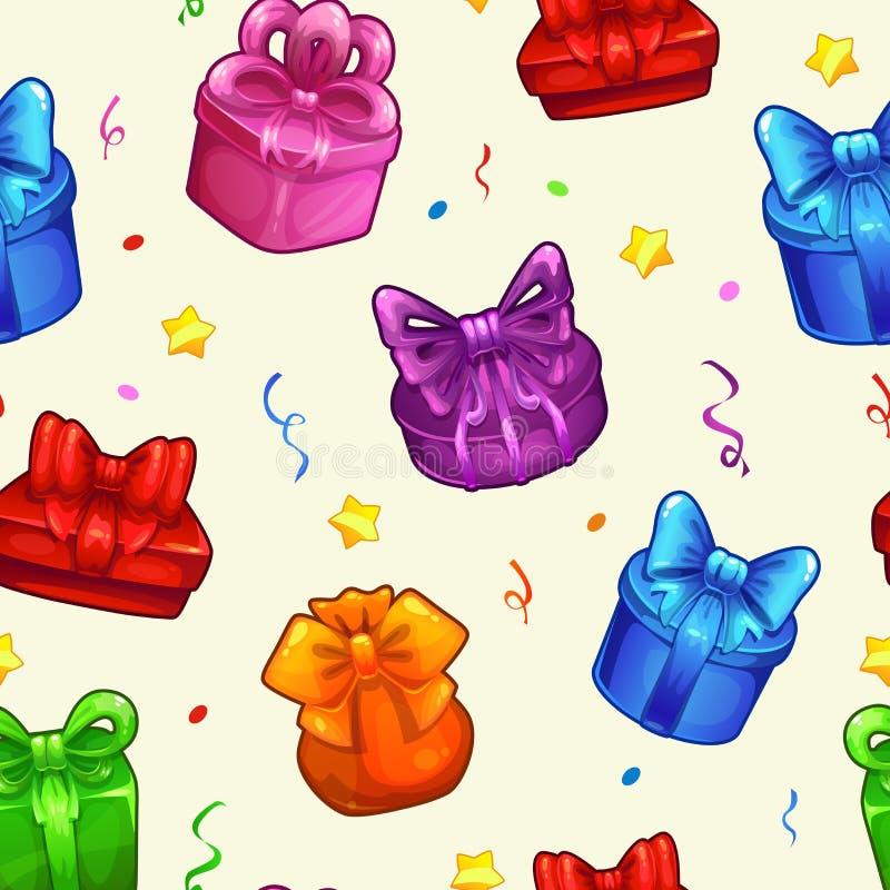 Bezszwowy wzór z kolorowymi prezentów pudełkami ilustracja wektor