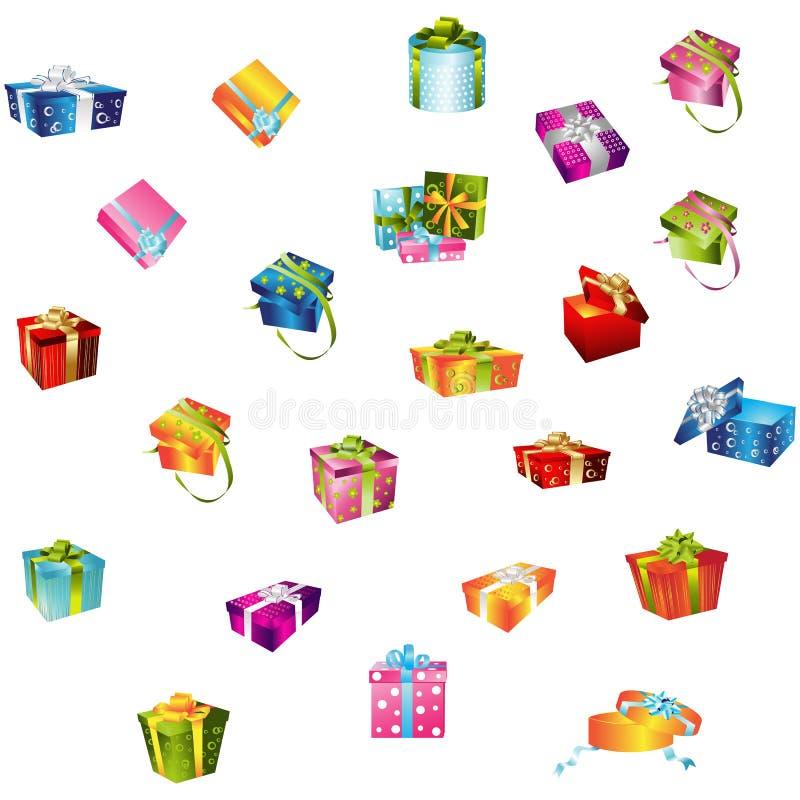 Bezszwowy wzór z kolorowymi prezentów pudełkami Tło dla strony internetowej paczki firmy ilustracji