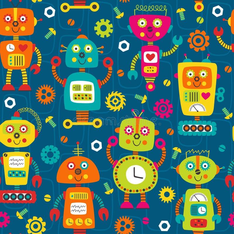 Bezszwowy wzór z kolorowymi robotami na błękitnym tle royalty ilustracja