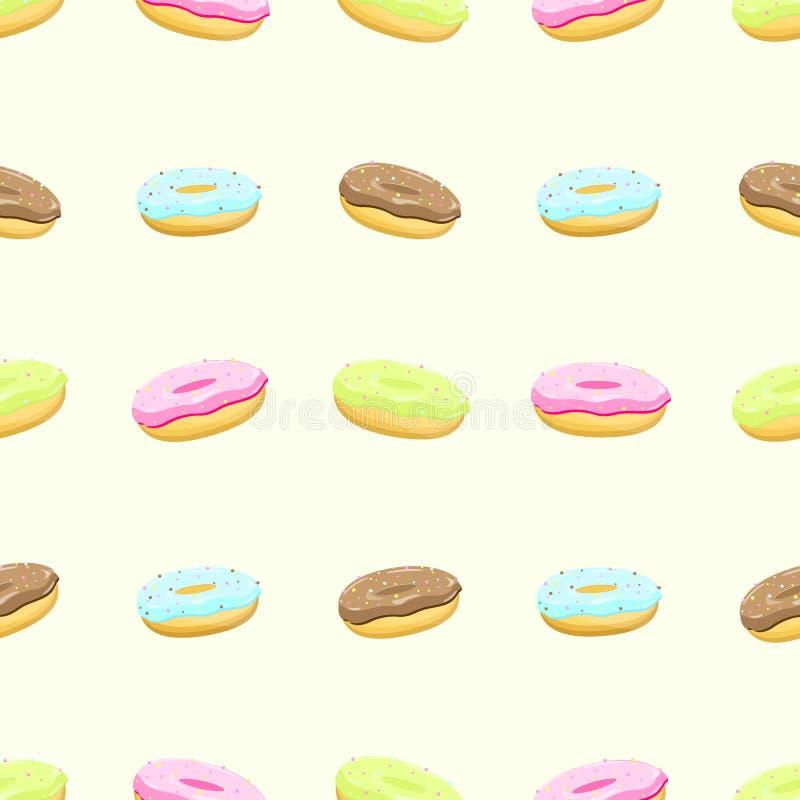 Bezszwowy wzór z kolorowymi smakowitymi donuts, wektor royalty ilustracja