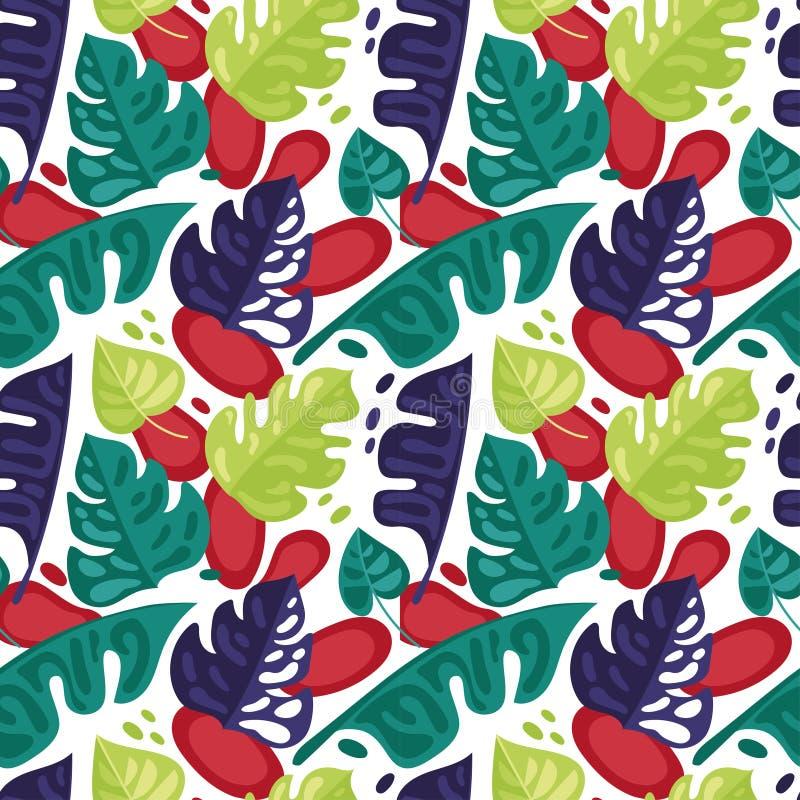 Bezszwowy wzór z kolorowymi tropikalnymi liśćmi w mieszkanie stylu ilustracji