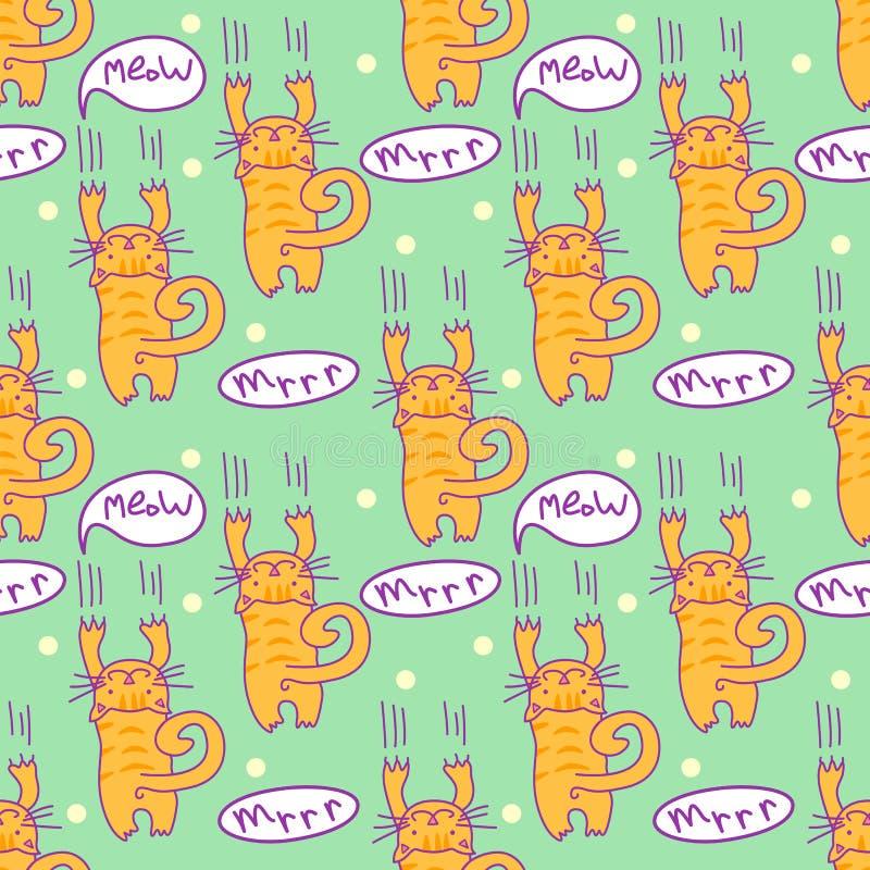 Bezszwowy wzór z komicznym kreskówka kotem Chrobotliwa figlarka z mowa bąblami Po prostu editable wektorowa tekstura dla tkaniny, ilustracja wektor