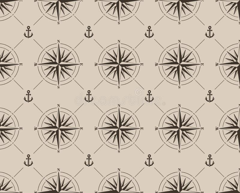 Bezszwowy wzór z kompas kotwicą i różą royalty ilustracja