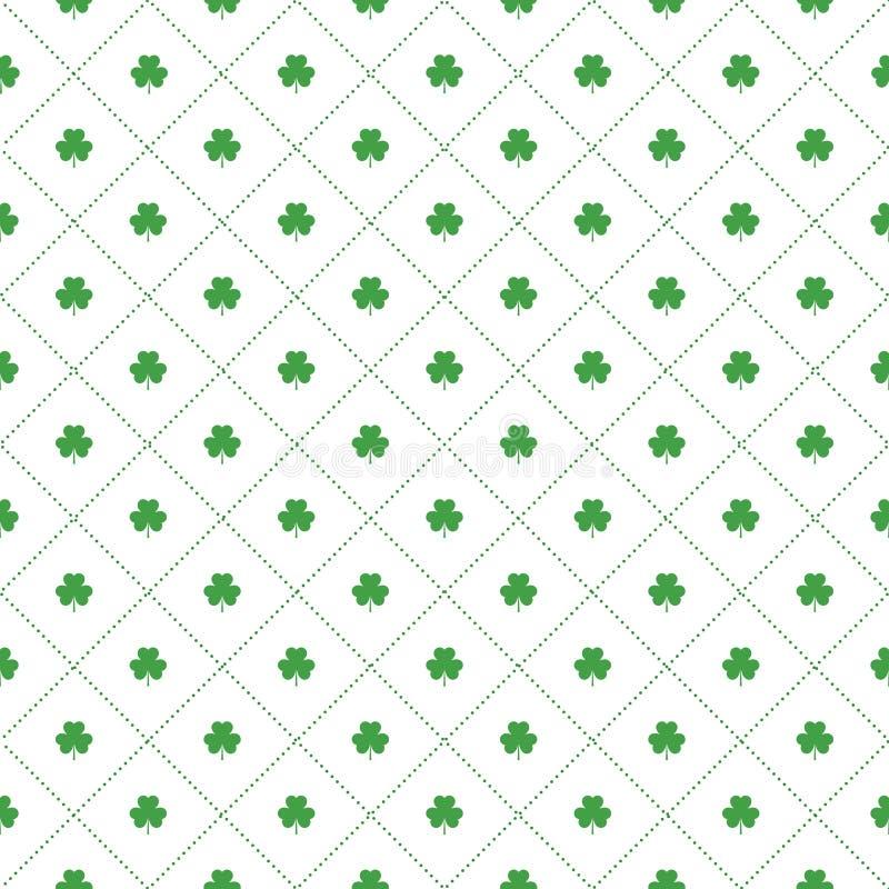 Bezszwowy wzór z koniczynami opuszcza i lampasy w ukośniku kształtują dla projekta St Patricks dnia rzeczy ilustracji