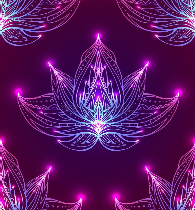 Bezszwowy wzór z konturem Lotus z boho wzorem ilustracja wektor