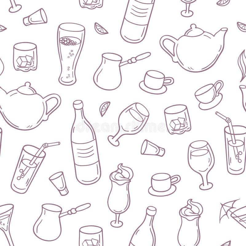 Bezszwowy wzór z konturu stylem pije w wektorze Napoju tło dla baru, menu lub cukiernianego projekta, ilustracji