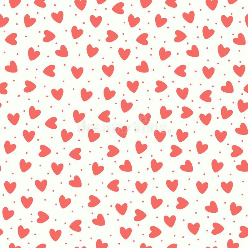 Bezszwowy wzór z koral menchii pociągany ręcznie prostymi sercami na białym tle ilustracja wektor