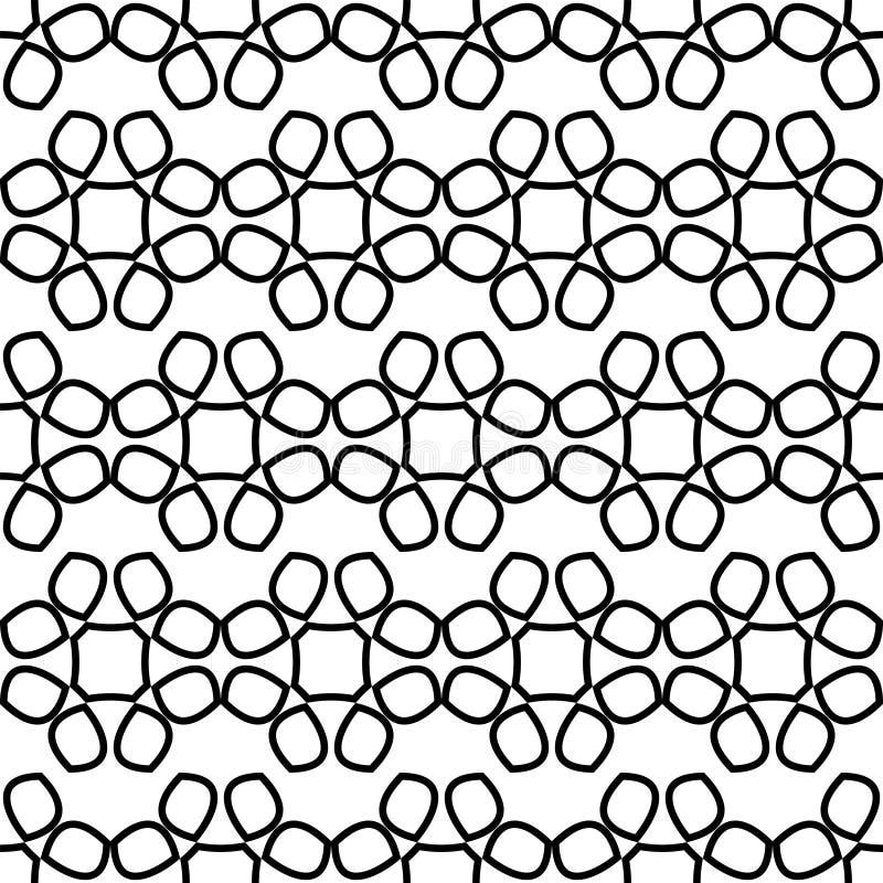 Bezszwowy wzór z koronką czarny abstrakt kwitnie na białym tle ilustracji