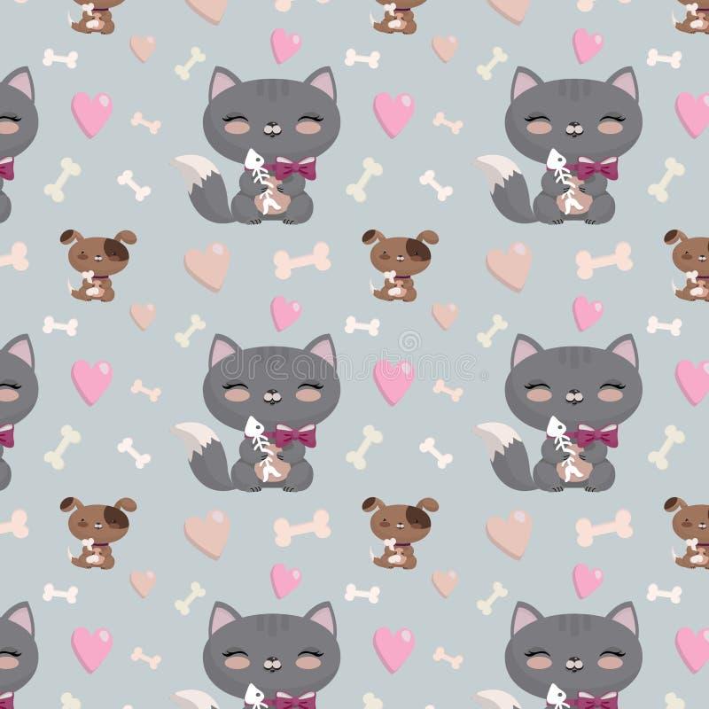 Bezszwowy wzór z kotami i psami ilustracja wektor