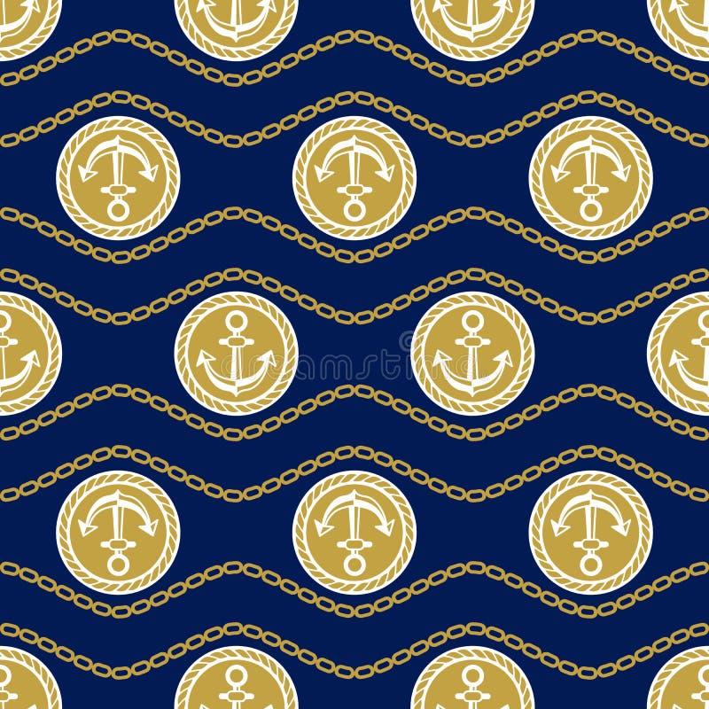 Bezszwowy wzór z kotwicami Trwający tła morski temat royalty ilustracja
