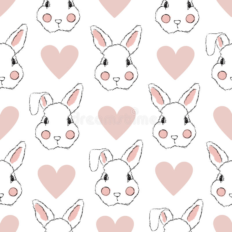 Bezszwowy wzór z królikiem i sercami obraz royalty free