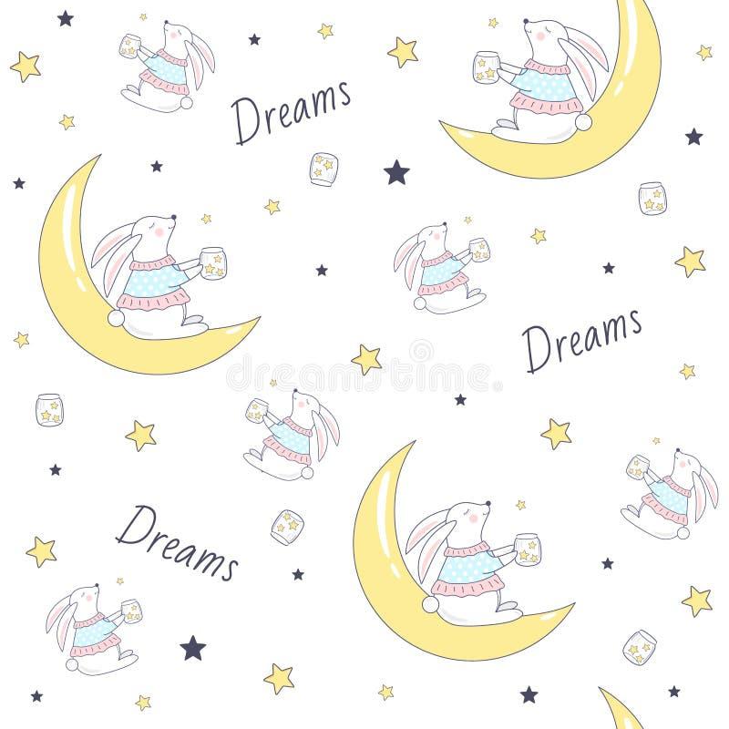 Bezszwowy wzór z królikiem na księżyc ilustracji