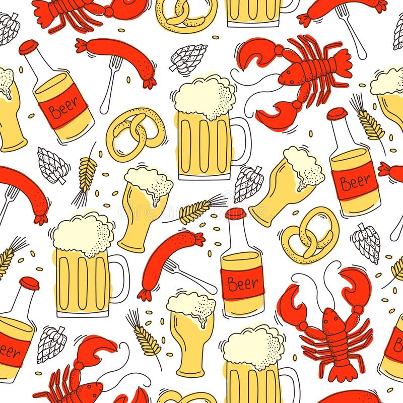 Bezszwowy wzór z krabami, kiełbasą, piwem, chmielem i adrą, ilustracji