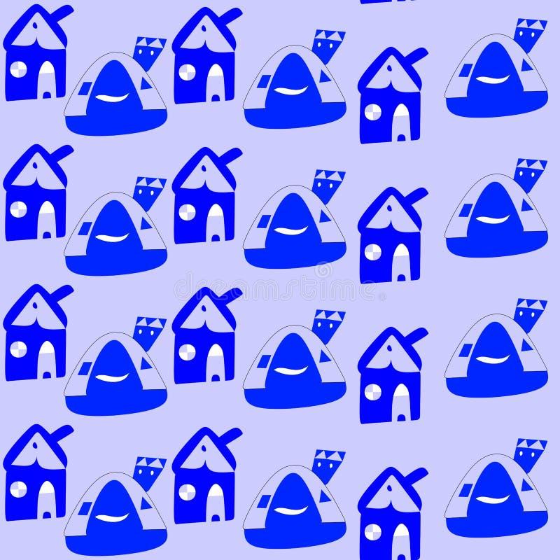 Bezszwowy wzór z kreskówka błękitnymi domami dziecięcy rysunek royalty ilustracja