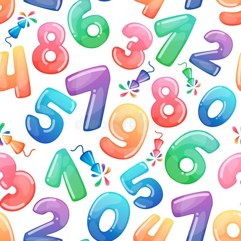 Bezszwowy wzór z kreskówka fajerwerkami i liczbami Tęcza cukierek i glansowani śmieszni kreskówka symbole dyferencja royalty ilustracja