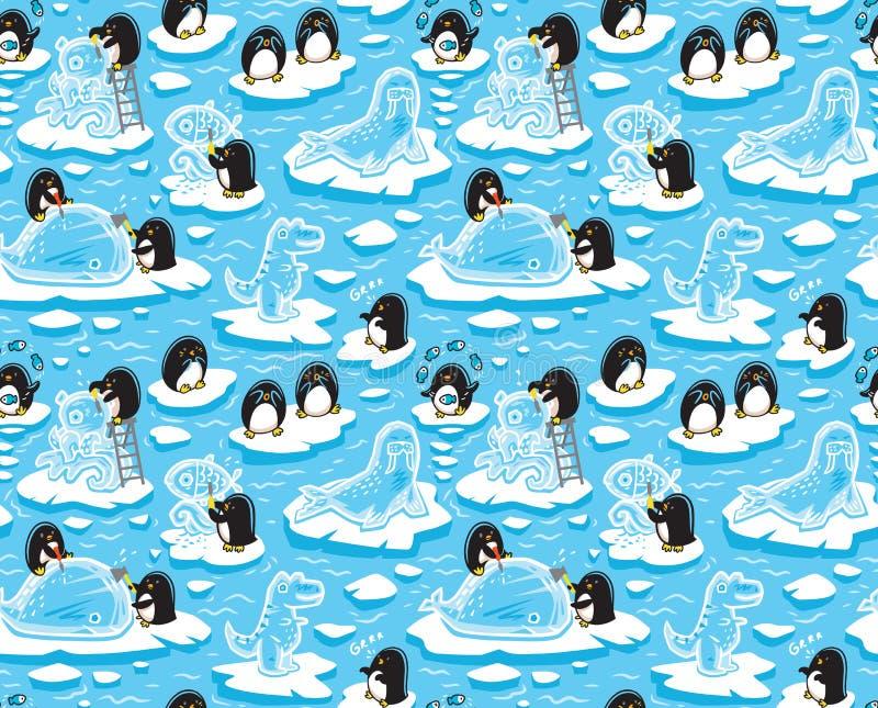 Bezszwowy wzór z kreskówka pingwinami tworzy lodowe rzeźby ilustracji