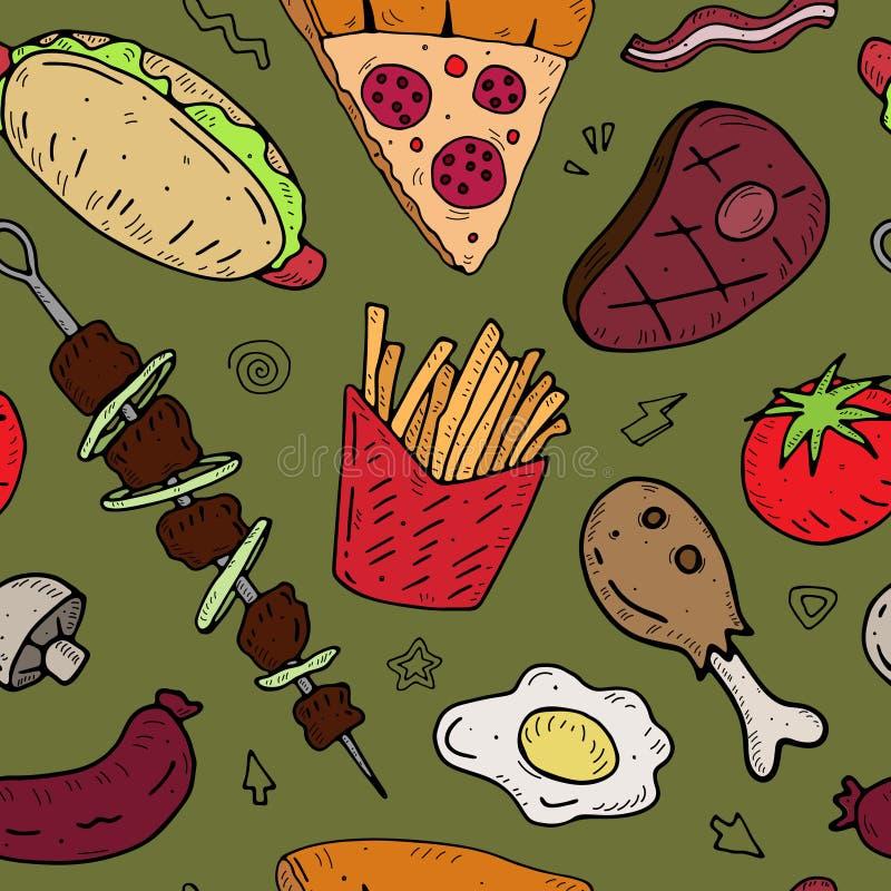 Bezszwowy wzór z kreskówki jedzeniem na neutralnym tle royalty ilustracja