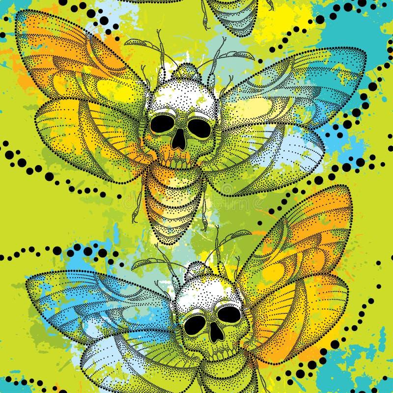 Bezszwowy wzór z kropkowanym śmierci głowy jastrzębia ćma, Acherontia atropos lub kolorowi kleksy ilustracji