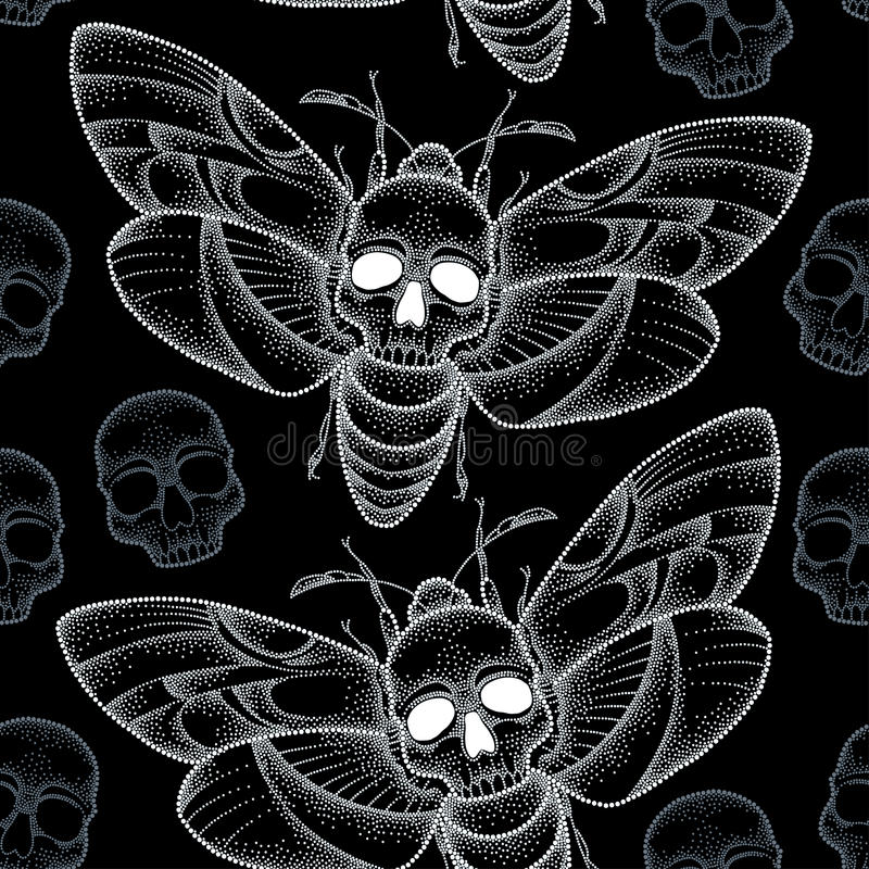 Bezszwowy wzór z kropkowanym śmierci głowy jastrzębia ćma lub Acherontia atropos w bielu i czaszkach ilustracji