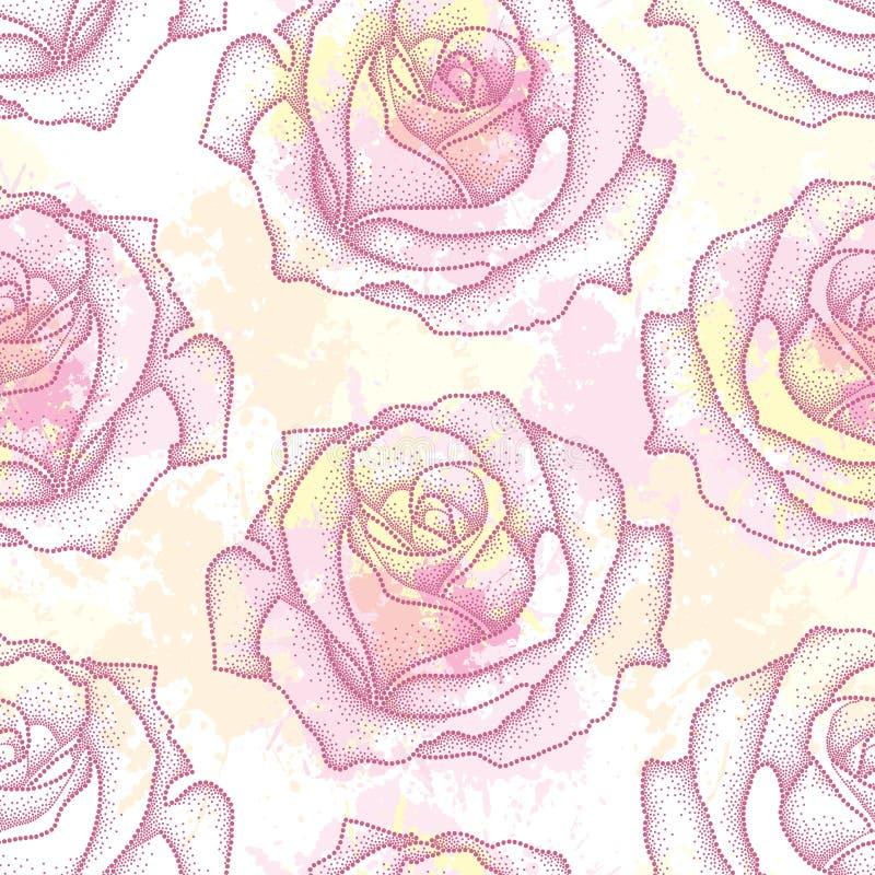 Bezszwowy wzór z kropkowanym róża kwiatem w menchiach na tle z kleksami w pastelowych kolorach Kwiecisty tło w dotwork stylu royalty ilustracja