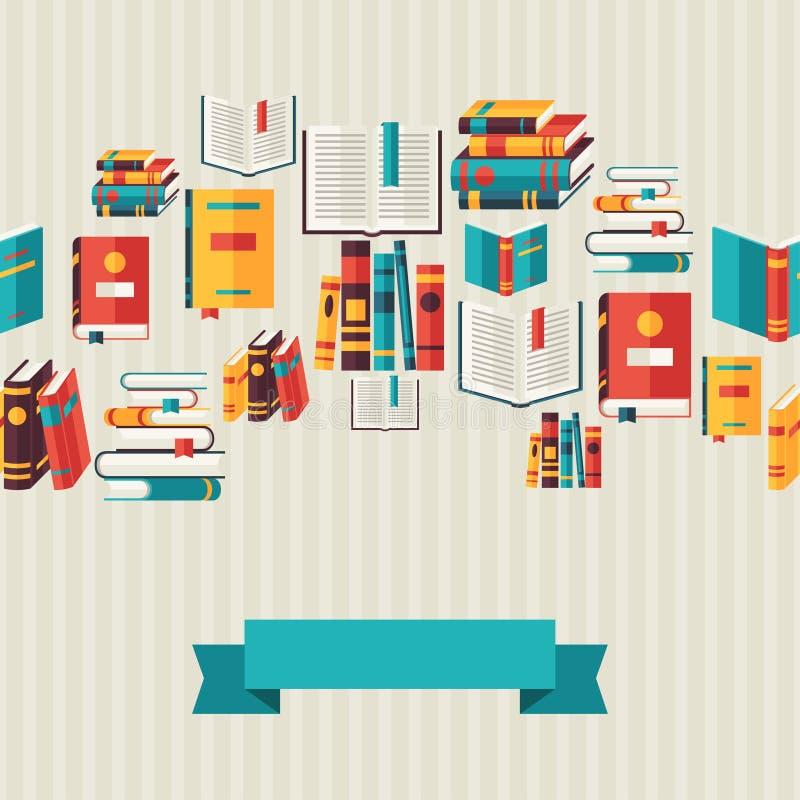 Bezszwowy wzór z książkami w płaskim projekta stylu ilustracji