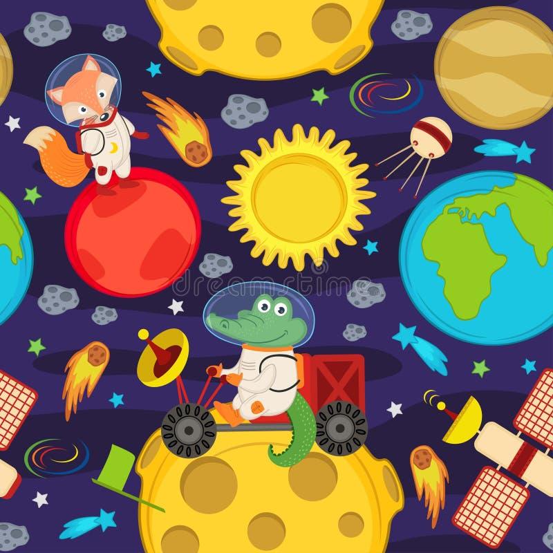 Bezszwowy wzór z księżyc zwierzętami i włóczęgą royalty ilustracja