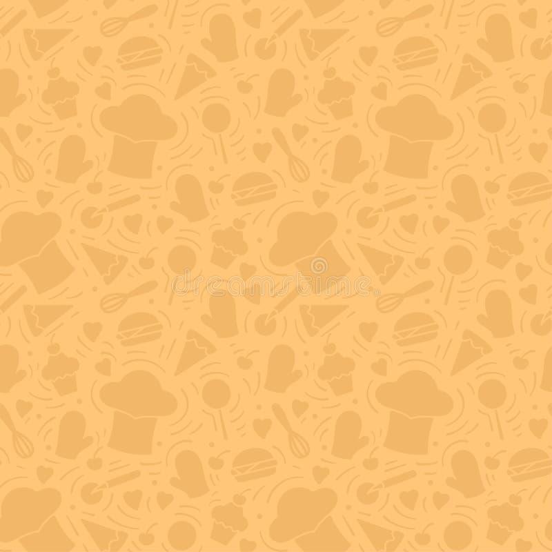 Bezszwowy wzór z kucbarskimi nakrętkami, kuchennymi elementami i posiłkiem, ilustracja wektor