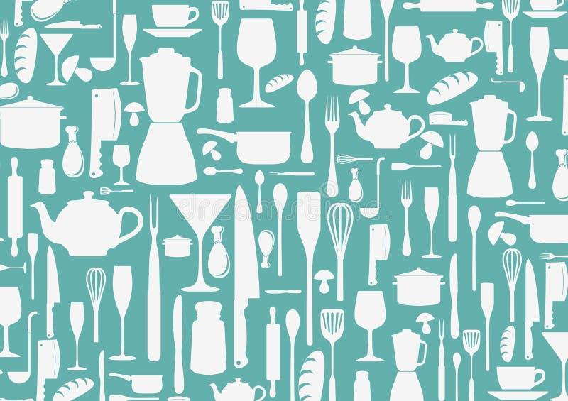 Bezszwowy wzór z kulinarnym ikony tłem royalty ilustracja