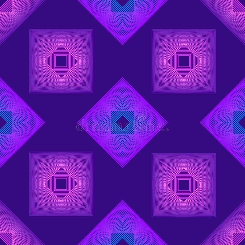 Bezszwowy wzór z kwadratami przetykającymi w stylu 80s Retro gradientowy tło w purpurowym i błękitnym wektor royalty ilustracja