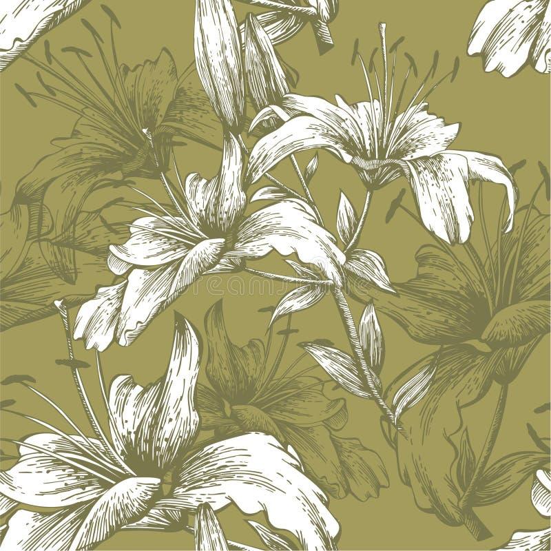Bezszwowy wzór z kwiat lelujami. Wektorowy illus ilustracji