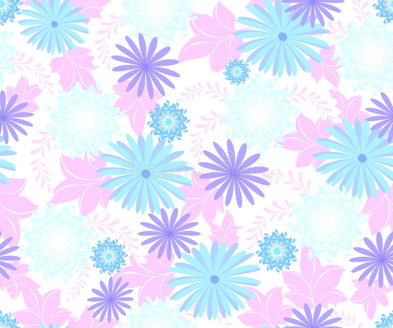 Bezszwowy wzór z kwiatami cool błękitnych cienie na jednorodnym lekkim tle EPS10 wektorowa ilustracja ilustracji