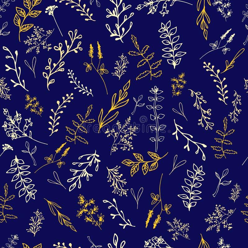 Bezszwowy wzór z kwiatami na ciemnym tle royalty ilustracja