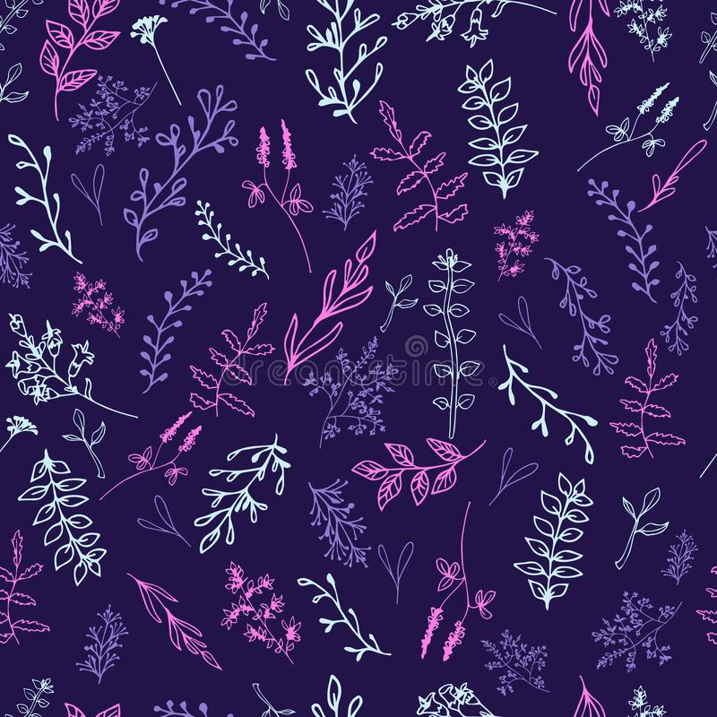 Bezszwowy wzór z kwiatami na ciemnym tle ilustracja wektor