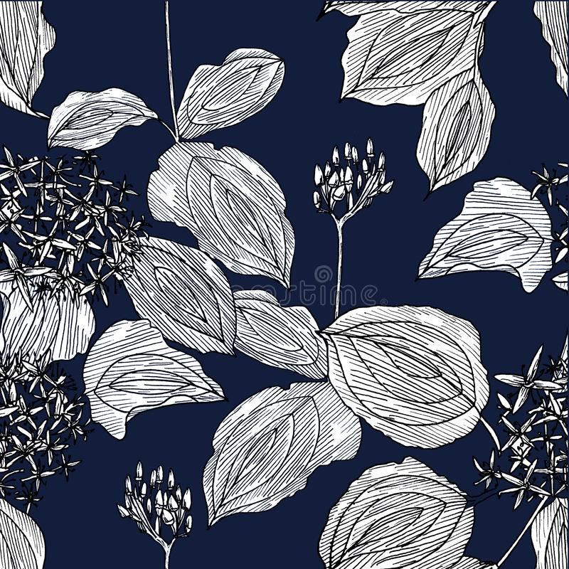 Bezszwowy wzór z kwiatami na zmroku - błękitny tło grafit ilustracja wektor