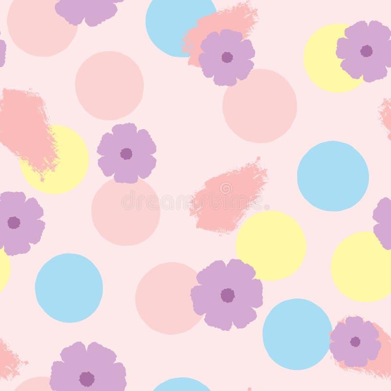 Bezszwowy wzór z kwiatami, okręgami i brushstrokes, Rysujący ręką Akwarela, atrament, nakreślenie pastel ilustracja wektor