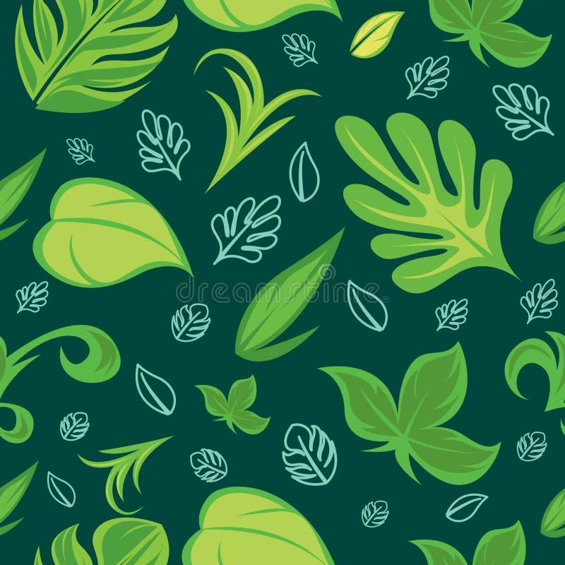 Bezszwowy wzór z kwiecistym motywem z bardzo pięknymi zielonymi kolorami Bezszwowy wzór z tropikalnymi liści motywami ilustracja wektor
