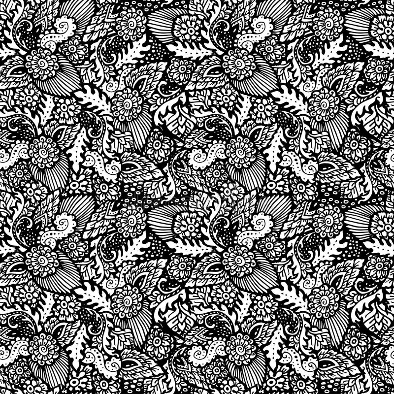 Bezszwowy wzór z kwiecistymi rzeczami Pociągany ręcznie czarny i biały tło royalty ilustracja