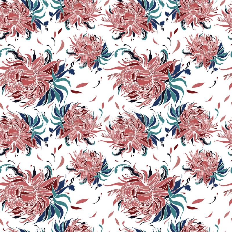 Bezszwowy wzór z kwitnąć pączki pion kwitnie ilustracja wektor