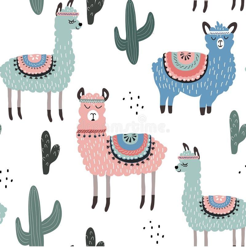 Bezszwowy wzór z lamą i kaktusem wektorowa ilustracja dla tkaniny, tkanina, tapeta ilustracja wektor
