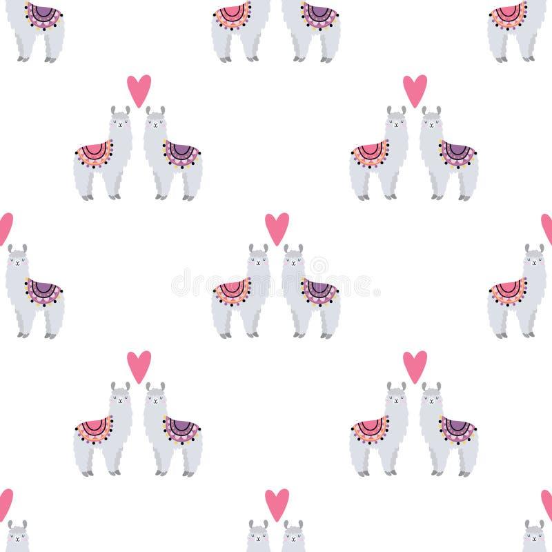 Bezszwowy wzór z lamas w miłości fotografia royalty free