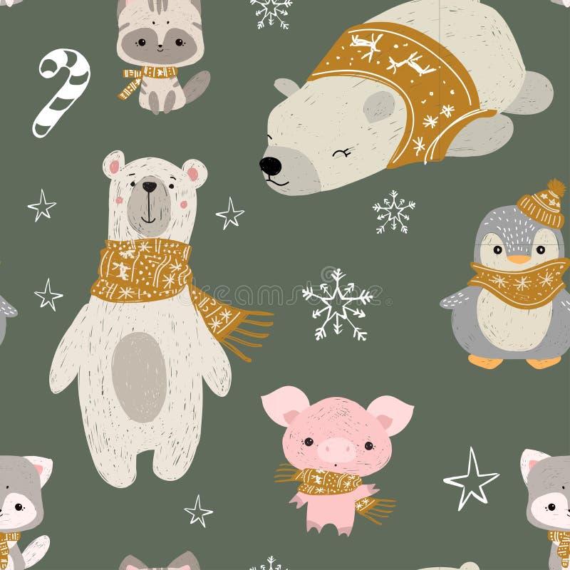 Bezszwowy wzór z lasów zwierzętami Wektorowi niedźwiedzie polarni, pingwin, świnia i figlarka, Dobry dla kartek bożonarodzeniowa, royalty ilustracja