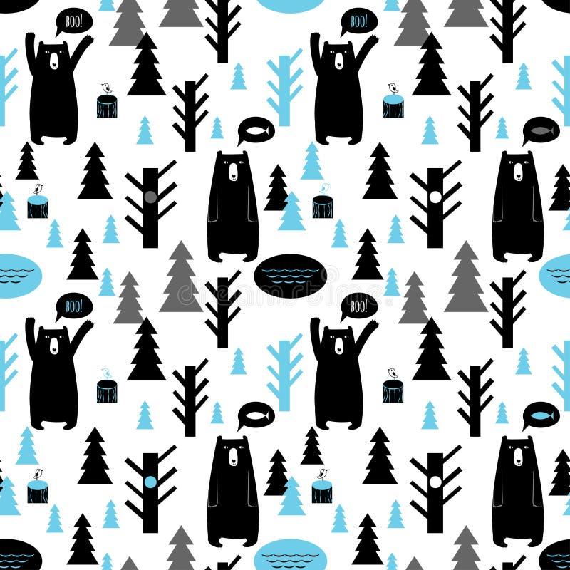 Bezszwowy wzór z lasem i niedźwiedziami ilustracja wektor