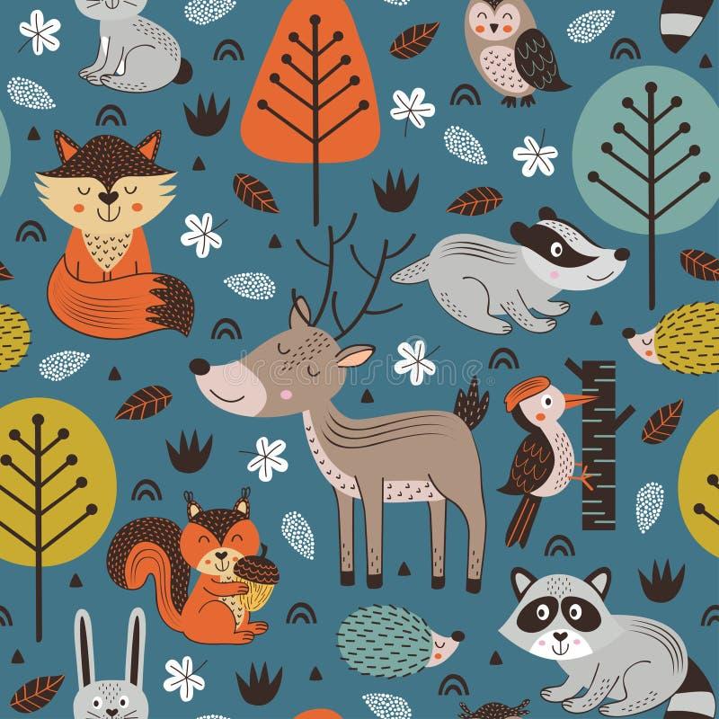 Bezszwowy wzór z lasowymi zwierzętami na błękitnym tło skandynawa stylu royalty ilustracja