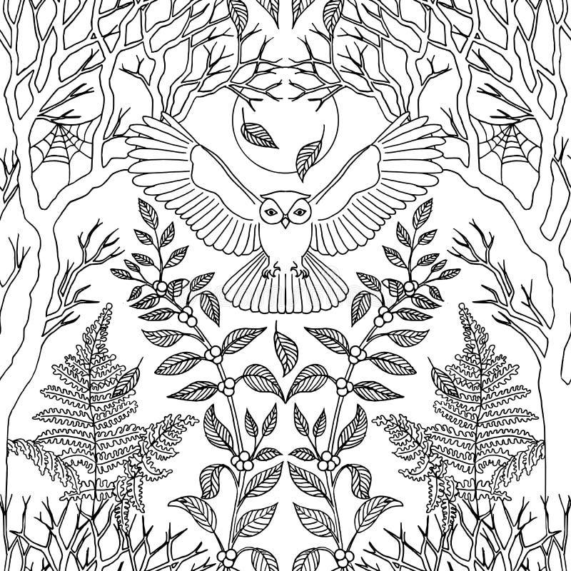 Bezszwowy wzór z latającą sową ilustracja wektor