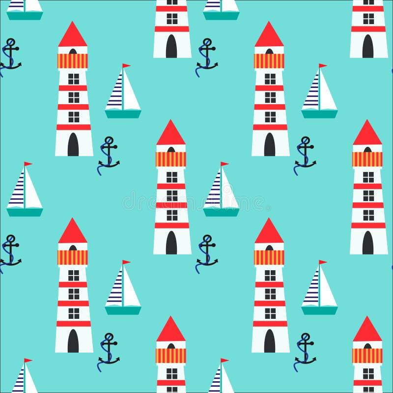 Bezszwowy wzór z latarnią morską, statkiem i kotwicą, ilustracja wektor