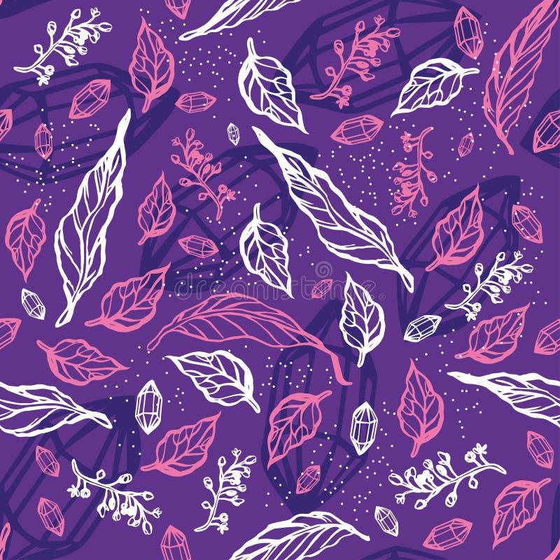 Bezszwowy wzór z liśćmi i gałąź ornament kwiecisty royalty ilustracja