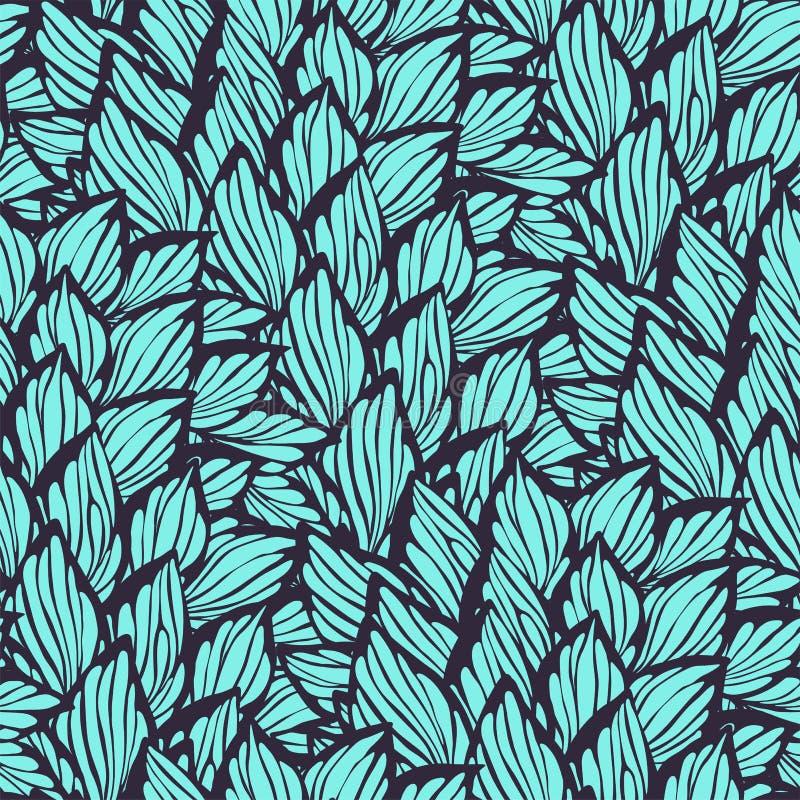 Bezszwowy wzór z liśćmi robić w grafika stylu ilustracja wektor