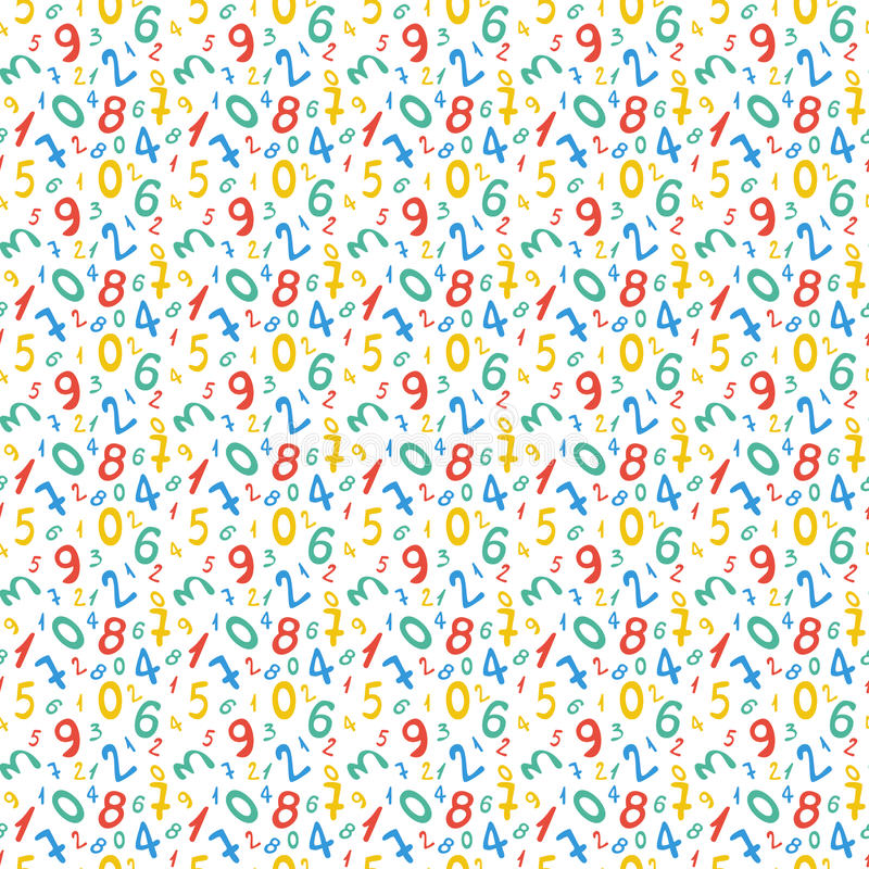 Bezszwowy wzór z liczbami dla szkolnego projekta royalty ilustracja