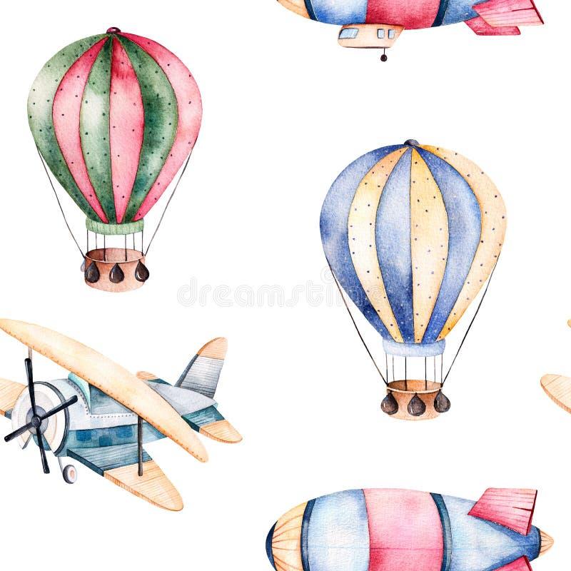 Bezszwowy wzór z lotniczymi balonami, sterowem i samolotem w pastelowych kolorach, ilustracja wektor