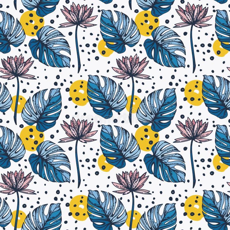 Bezszwowy wzór z lotosowymi kwiatami, monstera leves i ręki rysować kropkami, ilustracja wektor